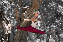 Weightlessness in yoga (J.J.Carmona) Tags: barcelona parque people woman naturaleza nature girl yoga mujer chica personas aire libre ejercicio gimnasia