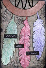 ICAD # 5 Wishes and Dreams (clayangel_sc) Tags: artcards art doodles indexcardaday icad aceo ooak scrapbookpaper feathers dreamcatcher indexcards mixedmedia draw