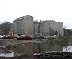 Katowice, Poland. (wojszyca) Tags: mamiya rz67 6x7 120 mediumformat 75mm shift kodak portra 160 gossen lunaprosbc epson 4990 city urban housing parking lot mud puddle reflection katowice