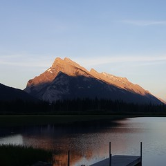 Vermilion Sunset (Anne Oldfield) Tags: sunset lake canada mountains water beautiful alberta banff tranquil vermilionlake