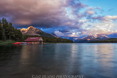 Sunset at Maligne Lake (Jaykhuang) Tags: sunset canada reflections cloudy overcast alberta boathouse malignelake snowmountains rockiesmountains jayhuangphotography