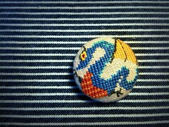 Dragon Big Button (Deep Indigo) Tags: blue crossstitch dragon handmade linen embroidery button serpentdragon fabriccovered
