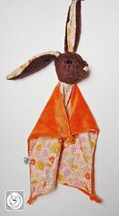 Bunny orange /brown (Polar Bear Creations Dolls) Tags: bunny natural waldorf plush hase softtoy babytoy schmusetuch polarbearcreations bunnyblanky