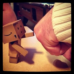 Fist bump (aebphoto) Tags: bar michiganstateuniversity frommyphone swag iphone danbo peanutbarrel eastlansingmi revoltechdanbo iphone4s firstbump worldofdanbo iphoneoegraphy