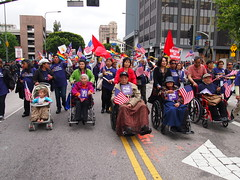 2012 May Day Rally-L.A. P5011418 (El Trinidad) Tags: california people usa pen losangeles events rally documentary olympus flags demonstration banners immigration 2012 ep3 may1st maydayrally internationallaborday eltrinidad olympusep3
