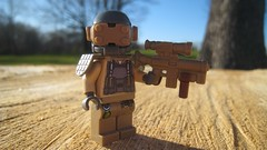 New Desert Soldier (Updated) (The Brick Guy) Tags: new soldier belt desert lego grenades armor custom visor apocalyptic updated monopod minifigure brickarms amazingarmory coreburner