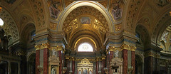 Panorama from the St. Stephen Basilica in Budapest 2 (Romeodesign) Tags: panorama church hungary catholic roman interior basilica budapest wide arches altar inside ststephen istvn szent 550d gettyhungary1