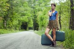the traveller (SamFloyd) Tags: road travel blue portrait green girl fashion vintage nikon suitcase d90