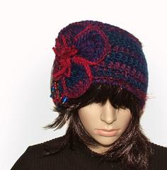Royal Blue & Red headband - 5 (renatekirkpatrick) Tags: crochetflowers cowl earwarmers crochetheadband