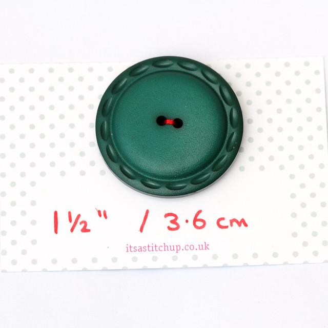 Jumbo vintage dark green button – 36mm