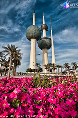 Kuwait Towers Cinematic HDR (Shahbaz Hussain's Photography) Tags: city flowers sky white color art love colors grass clouds dark lens photo nice nikon focus with view image towers royal arab falcon shutter inside kuwait cinematic tamron hdr shah q8 grassy 1024 hussain abraj shahbaz d300s
