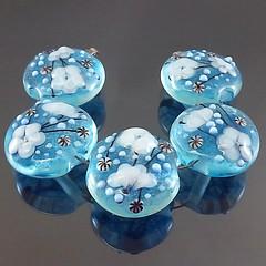 Set : Blue River (Pikalda and Verada) Tags: blue flower set garden beads colorful ebay european blossom pair earring dot line troll etsy pandora pendant glassbeads biagi focal handmadelampwork lampworksra beadssra charmbeads