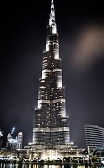 Burj Khalifa (marin.tomic) Tags: travel light reflection tower water fountain architecture night skyscraper lights nikon asia dubai nightshot uae highrise arabian unitedarabemirates height vae d90 burjkhalifa