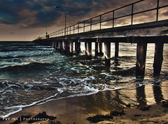 Altona Pier (PVT Photography) Tags: wood sunset summer sky cloud beach landscape fun pier surf waves wind crash dusk perspective australia melbourne victoria hdr altona melbswest pvtphotography pvtinc