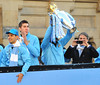 Sergio Aguero and Roberto Mancini Manchester City Premier League Title victory parade. Players and staff of Manchester City parade the English Premier League Trophy through the city centre from an open-top bus Manchester, England