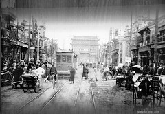 Qianmen Avenue in the 1920s or 1930s (sftrajan) Tags: china brick architecture beijing historic   streetcar peking bijng  qianmendajie   qianmenstreet qianmenavenue qianmendaijie