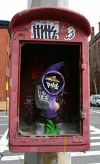 Hip-hop gnome (fotoflow / Oscar Arriola) Tags: street new york city nyc sculpture usa art america fire design us hoodie gnome artwork call chelsea phil box manhattan painted united american hiphop states boombox department dept 2012