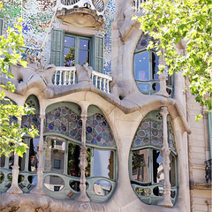 mosaic stories from Barcelona (6) (sma_kee) Tags: barcelona city trip trees windows summer urban sculpture holiday tourism glass architecture facade square artwork mosaic memories catalonia journey gaudi balconies organic wavy casabattlo batllo modernista antonigaudi capitel holidaydestination cannon500d