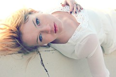 (DewDrop17) Tags: bridge portrait beautiful face canon photography model soft hand wind gorgeous blueeyes grace blonde elegant striking milky exposed braid