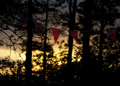 Bunting & the sunset. (justmia) Tags: sunset red 50mm bokeh jubilee unionjack bunting nikond3000