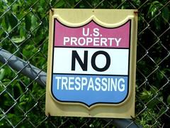 No Trespassing (frankieleon) Tags: blue red white sign warning interestingness interesting bestof property cc creativecommons statement law popular fortknox notrespassing usgovernment frankieleon