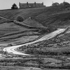 There's a Beatles song in there somewhere (silentandy) Tags: road white black rural canon eos countryside is sheep yorkshire hill north lane l winding mm usm 300 zig 70 ef zag chapelledale 60d