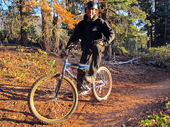 Gary Bell and his 1979 Lawwill Mtn Bike (benjaminfish) Tags: california mountain bike vintage march tahoe trail biking 2014