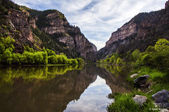 Calm on the Colorado (isaac.borrego) Tags: sky reflection water clouds river colorado canyon coloradoriver glenwoodcanyon uploadedviaflickrqcom canonrebelt4i