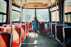 Private Car (cookedphotos) Tags: windows urban woman sunlight toronto window girl sunglasses private star back fuji ttc seat streetphotography transit commute brunette streetcar captainamerica 23mm xt1 vsco