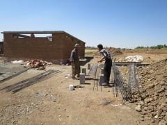Building the roof (Jiyan Foundation) Tags: water construction gardening foundation clay therapy humanrights kurdistan stables healinggarden jiyan chamchamal