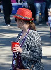 With the Red Hat (BKHagar *Kim*) Tags: street carnival red party woman cup hat la louisiana drink neworleans parade celebration napoleon nola mardigras prytania bkhagar