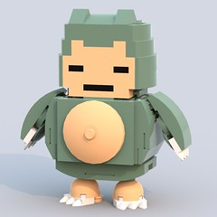 Snorlax (Unijob Lindo) Tags: blue boy red game green classic yellow digital cat sand lego designer render nintendo sprite videogames pokemon monsters pocket build curved gameboy stylized 1x1 companions 143 snorlax ldd pkmn bluerender