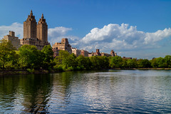 The San Remo (Rafakoy) Tags: trees summer sky lake newyork nature water colors horizontal architecture clouds digital landscape pond view centralpark manhattan housing thelake thesanremo canoneosm3