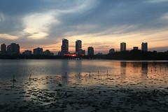 Nanjing (Laureano Moreno) Tags: sunset lago atardecer ciudad cielo tiempo rascacielos horas