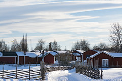 World heritage church town in Gammelstad Sweden (Helen Lundberg Photography) Tags: worldheritage churchtown churchvillage gammelstad luleå sweden swedish winter redcabin fence gärdesgård roundpolefence snow unesco norrland scandinavia europe northofsweden swedishlapland