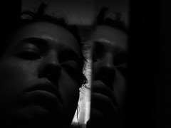 I only want to breathe. (mynikonismyfourtheye) Tags: light portrait bw me contrast reflections hair grey mirror eyes nikon flickr noir lips bn tired coolpix tunnels stress septum mistery aesthetic misticism tenebrism l820