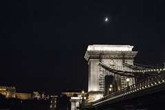 Chain Bridge (borikovts) Tags: hungary budapest night bridge danube duna lights moon