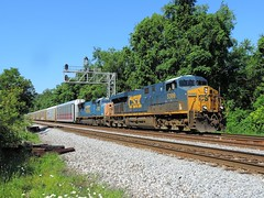 CSX 5399 and 4797 (Trains & Trails (away)) Tags: railroad train diesel pennsylvania engine transportation ge interlocking generalelectric csx fayettecounty connellsville gevo 4797 5399 darkfuture es40dc yn3 widecab westyough q27718