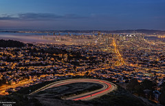 View of San Francisco Bay (Gemma - A Passionate Photographer) Tags: fog pacificocean twinpeaks sanfranciscobay lighttrails bluehour oaklandbaybridge mistyfog