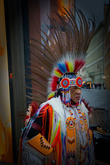 Warrior class (Pat Charles) Tags: prague prag praha czech republic city urban exploration travel tourism nikon people person portrait feathers indigenous indian american native costume musician dancer performed busker busking