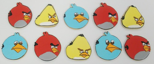 [Image from Flickr]:Angry Birds character cookies