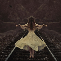 the guiding spirit (brookeshaden) Tags: railroad travel girls train fly lift surrealism traintracks fineartphotography brookeshaden texturebylesbrumes