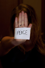 "Day 145: ""Peace"" (FallingLeavesPhotography) Tags: portrait canada girl june portraits canon dark paper word relax creativity photography words crazy interesting moody peace edmonton hand spirit creative relaxing busy alberta portraiture question rest 365 nothing unrest 2012 day145 145 turmoil 366 stephaniewillis 5dmarkii fallingleavesphotography"