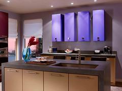 Color Metric Kitchen 2 (Behr Paint) Tags: blue kitchen modern paint gray tan trend colorblocking paintedcabinets behrpaint premiumplus trend2013