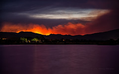 Enflamed Foothills of the Hewlett Fire (Fort Photo) Tags: lake nikon watson hewlett gulch larimer swa d700 2012a hewlettfire fortcollinscocoloradowildfirefireforest firenewseventscurrentnaturelandscapeblue hournighteveningwatson