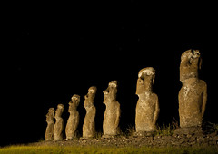 Illuminated Moais In Ahu Akivi, Easter Island, Chile (Eric Lafforgue) Tags: chile lighting longexposure sculpture color colour archaeology latinamerica southamerica statue horizontal night chili pacific fulllength nobody nopeople illuminated worldheritagesite torch pacificocean nightview moai easterisland colorphoto rapanui inarow isladepascua hangaroa archeologicalsite southpacificocean   malelikeness ili  6395 polynesianisland southamericanculture   ile    southeasternpacificocean polynesiantriangle chileanpolynesia