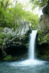 Jinba waterfall (main fall) (peaceful-jp-scenery) Tags: green waterfall explore  springwater     dslra700  sigma1770mmf284dcmacrooshsm sony