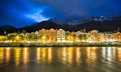 Innsbruck at Night (Extra Medium) Tags: blue orange reflection night clouds buildings austria twilight europe cloudy innsbruck innriver
