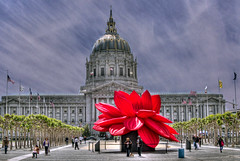 A Giant Red Lotus Blossom Blooms in Front of SF City Hall (Walker Dukes) Tags: sanfrancisco california pink blue trees red sky urban cloud white black green art clouds photoshop canon buildings landscape cityscape cloudy gray sunny highdefinition sfbayarea photomatix tonemapping highdefinitionresolution canons95