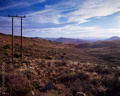 Karoo landscape (1 other people) Tags: africa 120 film mediumformat soft pentax south farmland velvia filter lee transparency nd powerline 6x7 06 grad fujichrome veld 67 easterncape graduated karoo koppie neutraldensity grahamhobbs